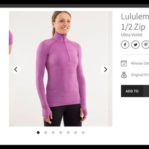 Lululemon Run: Swiftly Tech 1/2 Zip Ultra Violet